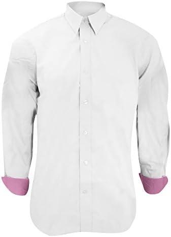 KUSTOM KIT - Camisa Ajustada de Manga Larga con puños en Contraste Modelo Oxford Premium - Trabajo/Boda/Fiesta