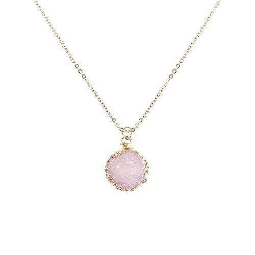 NTLX Women's Eye-Catching & Elegant Gold Plated Druzy Pendant Necklace (Light Rose)