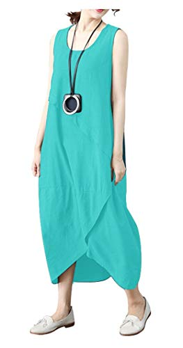 Ninmon Shares Women's Irregular Dress Sleeveless Cotton Linen Loose Casual Long Dress (Lake Blue, -