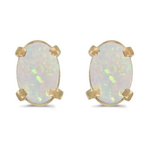 (14k Yellow Gold Oval Opal Earrings )
