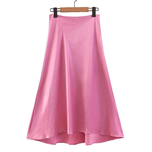Womens Pink Silk A-line Skirts High Waist Ruffles Irregular Hem Long Skirt Female Bottoms,Pink,L