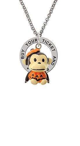 Resin Monkey in Pumpkin Costume - Buy Your Ticket Affirmation Ring Necklace