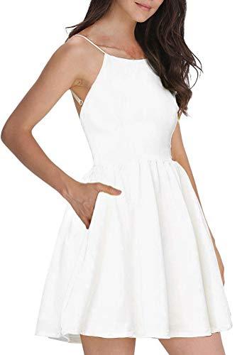 FANCYINN Women's White Short Dress Spaghetti Strap Backless Mini Skate Dress White S