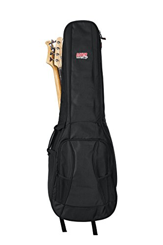 (Gator Cases 4G Series Gig Bag For Two Bass Guitars with Adjustable Backpack Straps; Fits Two Precision or Jazz Bass Style Bass Guitars (GB-4G-BASSX2))