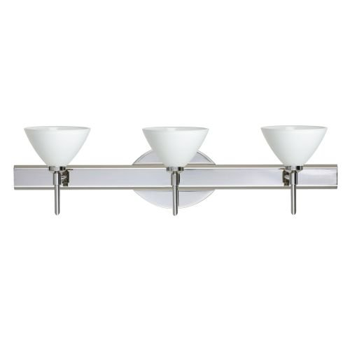 Besa Lighting 3SW-174307-CR 3X40W G9 Domi Wall Sconce with White Glass, Chrome Finish - Domi Three Light