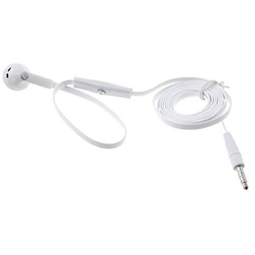 Flat Wired Headset MONO Hands-free Earphone w Mic Single Earbud Headphone [3.5mm] [White] for ZTE Tempo X ()