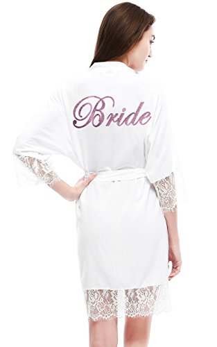 PROGULOVER Women's Imitation Cotton Lace Wedding Bridal Kimono Robe With Pink Glitter Robe Embroidered With Bride