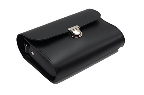 Ampliaci—n de cuero real del bolso de la taleguilla de Crossbody con Cierre con corchetes y correa ajustable Negro embrague grande