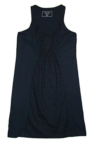 - Nautica Outer Banks Ribbed Knit Eyelet Lace Panel Tank Chemise Small Navy