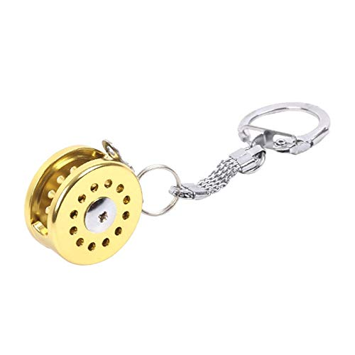 TD-OUTGO Strong Fish Wheel Keychain Gold Color Fly Fisherman Spinning Fishing Reel Charactor Miniature Key Chain with Key Ring