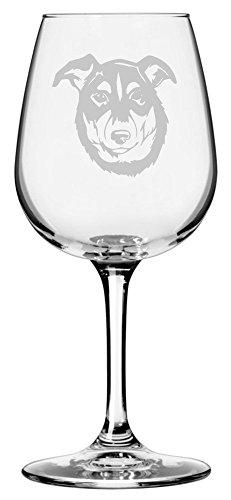 New Zealand Heading Dog Themed Etched 12.75oz Libbey Wine - Zealand Glasses New