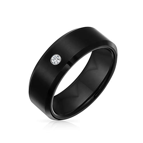 .10 Ct Solid Black Round Bezel Diamond Accent Wedding Band Tungsten Ring For Men Comfort Fit 7MM