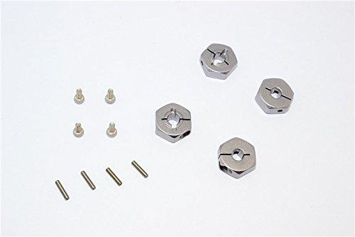 Team Losi Mini 8ight Upgrade Parts Aluminum Hex Adapter - 4Pcs Set Gray Silver - Mini Racing Buggy