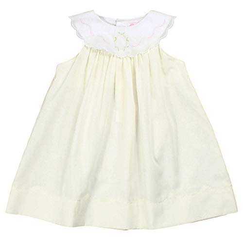 Petit Ami Baby Girls' Dress with Shadow Stitch Collar, 9 Months, Maize