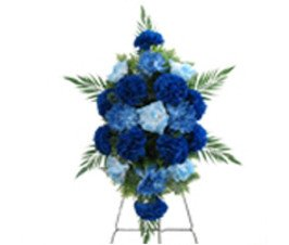 DELUXE LARGE SILK FLOWER SPRAY in BLUE for Grave-site Presentation in Remembrance of Loved Ones. Easel (Easel Spray)