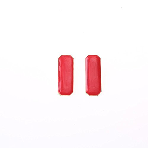(Acxico® Rectangular Metal Inlay Smooth Surface Jewel Stud Earrings (Red))