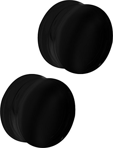 Forbidden Body Jewelry Set of 1 Inch Black Acrylic Ear Gauges, 25mm Solid Double Flared Saddle Plug Earrings