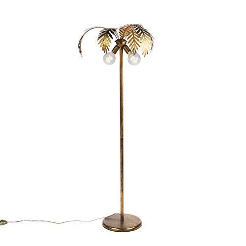 QAZQA – Retro Vintage vloerlamp goud 2-lichts – Botanica | Woonkamer | Slaapkamer | Keuken – Metaal Langwerpig – E27…
