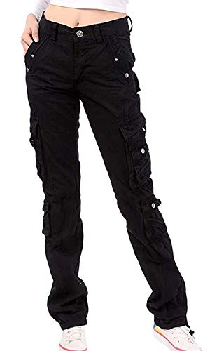 Women's Utility Travel with Pockets Straight Fit Cargo Military Pants, Black, Tag 29 = US (0-2)
