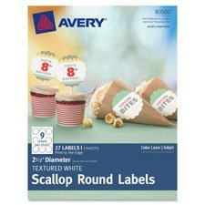 Avery 80500 Texturred White Scallop Round Labels 2-1/2