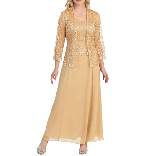 Dotted Party Dress - Aniywn Women Plus Size Two Piece Long Sleeve Party Dress Lace Solid Color Elegant Long Maxi Dress Mini Dresses Gold