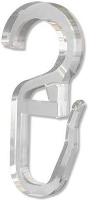 INTERDECO Faltenlegehaken mit /Öse 6,2 mm /Ø 100 St/ück Kunststoff in Glasklar /Überklipshaken f/ür Gardinenstangen-Ringe