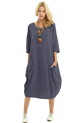 (Anysize Soft Linen Cotton Lantern Loose Dress Spring Summer Fall Plus Size Clothing Y19 Gray)