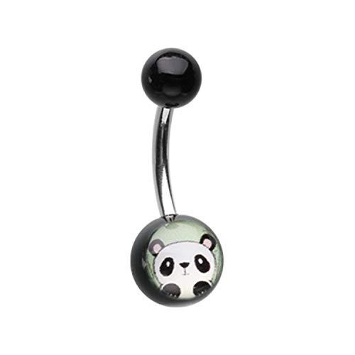 "Little Aiden Peeking Panda Acrylic Logo Navel Belly Button Ring Size 14GA 3/8"""