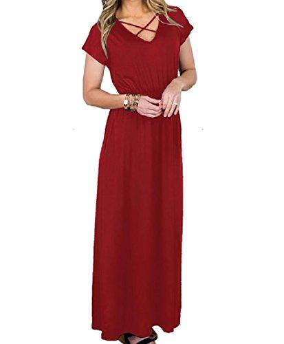 Di Rosso Choker Partito Casuale Coolred Solido Vino Modo donne Tunica Tasche Lungo Abito fAxqn1T