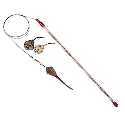 Go Cat Cat Catcher Teaser Wand And TWO Extra Cat Catcher Mouse Attachments From The Maker Of Da Bird - Value Pack