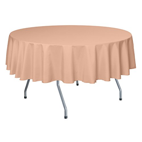 Ultimate Textile 60-Inch Round Polyester Linen Tablecloth Peach (Polyester Tablecloth Peach)