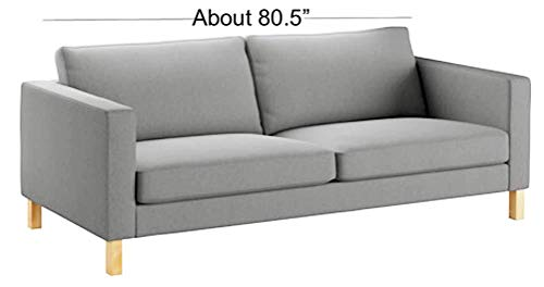 (HomeTown Market The Durable Cotton Karlstad Three Seat (Not Loveseat !) Sofa Cover (Width: 205CM) Replacement is Made for IKEA Karlstad 3 Seater Slipcover (Lighter Gray Cotton))