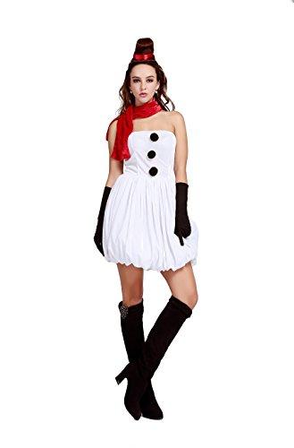 [Women's Snowman Cosplay Costume Mini Dress White Dance Dress] (Snowman Dance Costumes)
