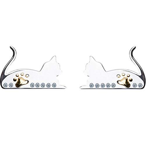 Jewelry Jewelry Women's Stud Earrings 925 Silver Cat Earrings A Pair of Hand-Set Earrings Best Gift Gift Box (Color : Silver, Size : 914mm)