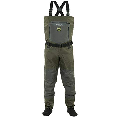 TideWe Breathable Waders, Waterproof Stockingfoot Chest Waders with Zippered Pockets, Lightweight Fly Fishing Waders for Men and Women (Size XL)