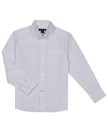 Tommy Hilfiger Boys' Little Long Sleeve Solid Oxford Button-Down Dress Shirt, White, 7