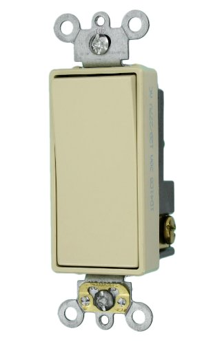 Leviton 5621-2I 20-Amp 120/277-Volt Decora Plus Rocker Single-Pole AC Quiet Switch, Ivory