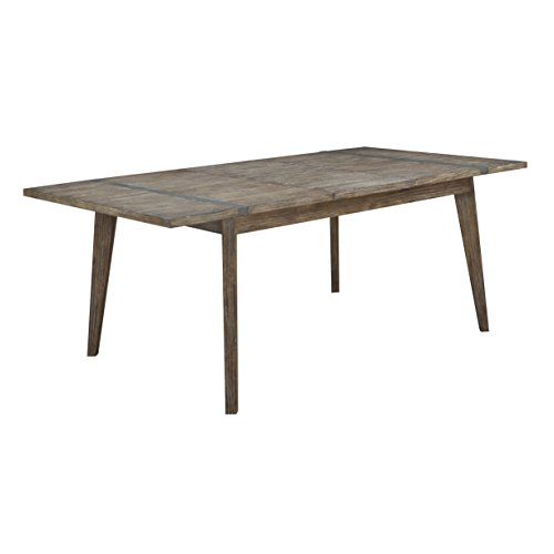 Emerald Home Viewpoint Driftwood Gray Dining Table Self Storing Butterfly Extension Leaf Metal Detailing