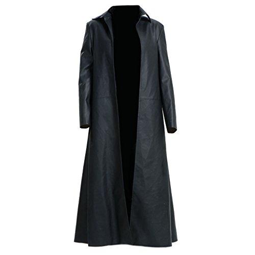Knee Length Leather Coat - 5