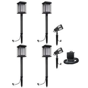 Malibu Prominence 6 Pack LED Light Kit. These Landscape Lights are Best for Exterior and Outdoor Lighting. This Low Voltage Light Set is consist of 2 Floodlights and 4 Path Lights. (Pierced Lighting 2 Piece)