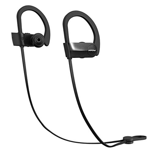 Mpow D7 [Upgraded] Bluetooth Headphones 10-12H Playtime, IPX7 Waterproof Wireless Sports Earbuds w/CVC 6.0 Noise Cancelling Mic & Richer Bass HD Sound, Bluetooth Earphones for Running, Workout