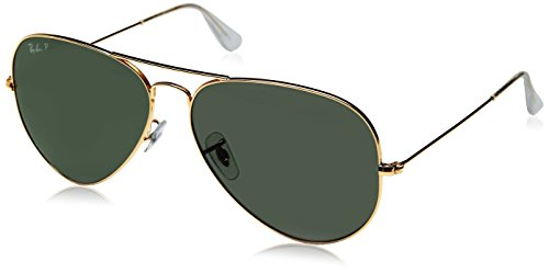 Ray-Ban 3025 Aviator Large Metal Non-Mirrored Polarized Sunglasses, Gold/Green, - 62 Ray Aviator Ban Polarized