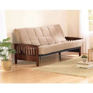 Mission Wood Arm Futon, Heirloom Cherry, Solid Wood Arms, Converts to fullsize bed