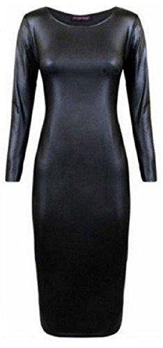 Generic Damen Kleid Schwarz Schwarz One size Wet Look Black