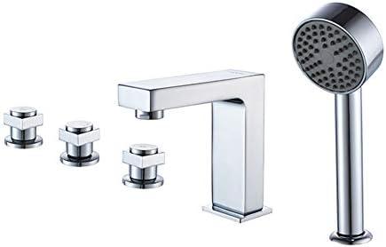 浴槽の蛇口、モダンな5穴の浴室の浴槽の蛇口、ハンドヘルドシャワー付きデッキマウント浴槽フィラー蛇口、クロム