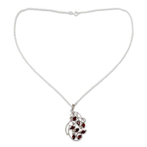 NOVICA Garnet .925 Rhodium Plated Silver Pendant Necklace, 18