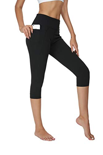 Brandless Capri Leggings with Pockets for Women High Waist Tummy Control Yoga Running Workout Athletic Compression Crop Pants(M,Black)