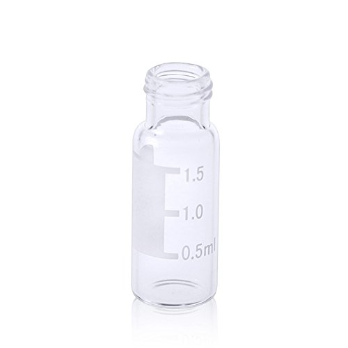 ALWSCI HPLC LC GC 1.5 ml Wide Opening Short Screw-Thread Vial with Write-on Spot, Clear, 12x32mm, 8-425 Top Type, 100 (Screw Thread Vials)