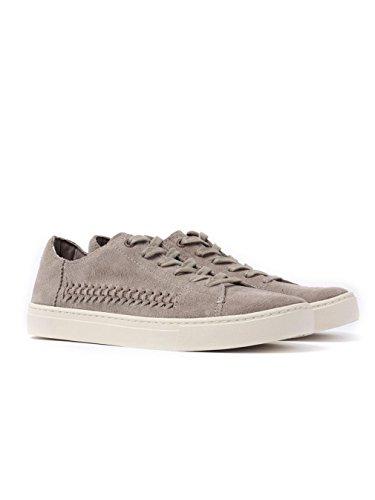 TOMS Women's Lenox Sneaker Desert Taupe Deconstructed Suede/Woven Panel 6 B US ()