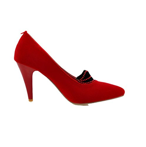 Odomolor Women's Frosted Pointed-Toe High-Heels Assorted Color Pumps-Shoes, Red, 38